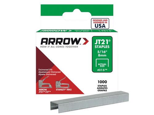 Arrow ARRJT21516S JT21 T27 Staples 8mm ( 5/16in) Box 1000 | Toolden