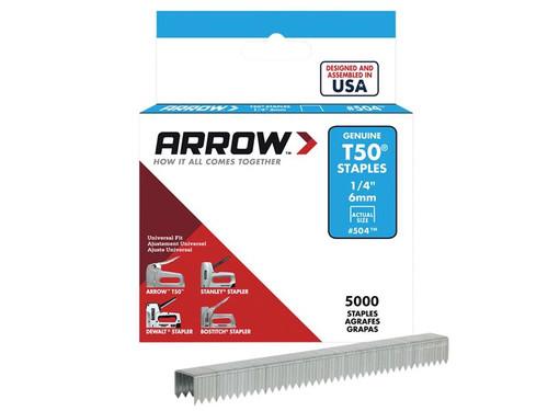 Arrow ARRT5014IP T50 Staples 6mm (1/4in) Bulk Pack 5000 | Toolden