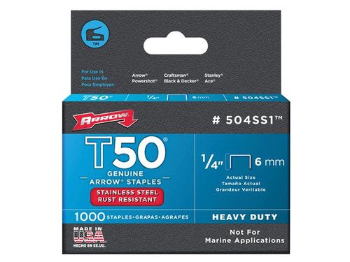 Arrow ARRT5014SS T50 Staples Stainless Steel 504SS 6mm (1/4in) Box 1000 | Toolden