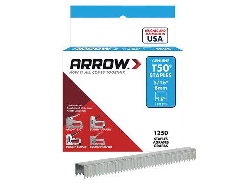 Arrow ARRT50516S T50 Staples 8mm (5/16in) Box 1250 | Toolden