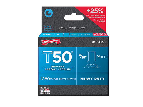 Arrow ARRT50916 T50 Staples 14mm (9/16in) Pack 5000 (4 x 1250) | Toolden