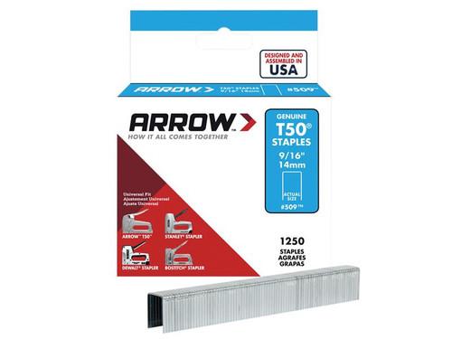 Arrow ARRT50916S T50 Staples 14mm (9/16in) Box 1250 | Toolden