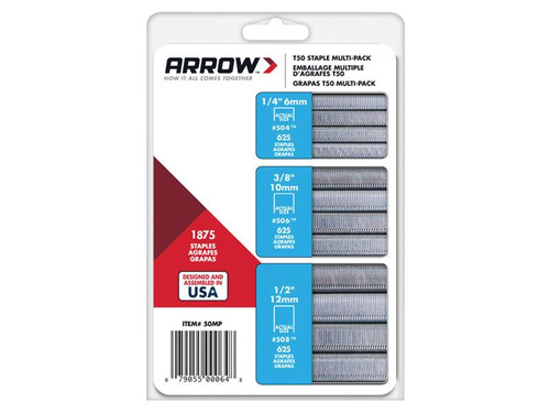 Arrow ARRT50SMP T50 Staples Multi Pack 6mm 10mm & 12mm Box 1875 (3 x 625) | Toolden