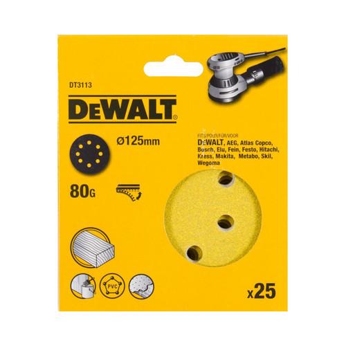 DeWalt DT3113-QZ 125mm 80G Sanding Disc for Orbit Sander (25pk)   Toolden