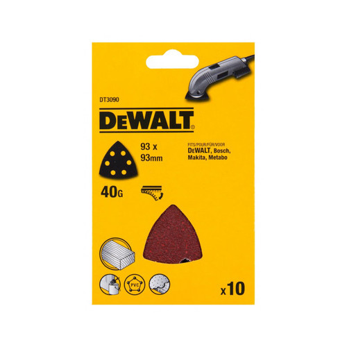DeWalt DT3090-QZ Detail Sanding Sheets -93 x 93mm 40g - 10pk | Toolden