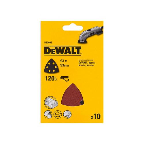 DeWalt DT3093-QZ Detail Sanding Sheets -93 x 93mm 120g (Pack of 10)   Toolden