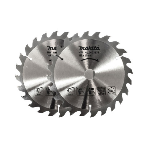 Makita D-03333 Circular Saw Blade 165 x 20 x 24 Teeth Pack Of 2  | Toolden