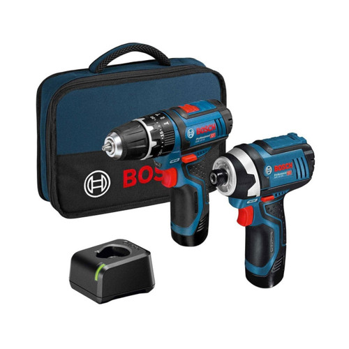 Bosch 06019A6979 12v Impact Driver and Combi Drill Twin Kit in S-Bag with 2 x 2.0Ah Batteries and GAL 12V-20 Charger  | Toolden