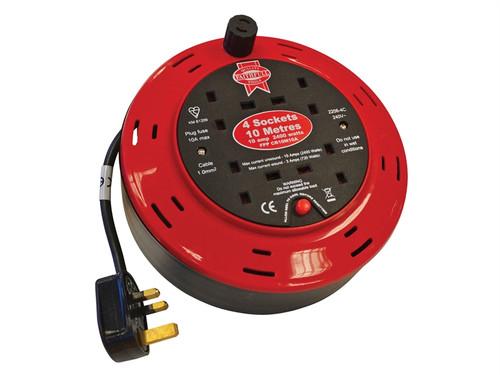 Faithfull Power Plus Cable Reel 240 Volt 10 Metre 10 Amp 4 Socket  Toolden