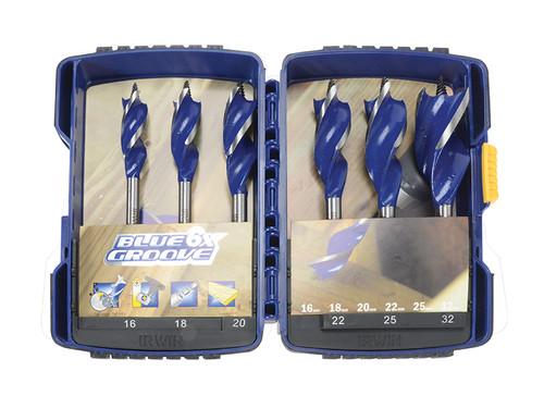 IRWIN 6X Blue Groove Wood Drill Bit Set 6 Piece 16-32mm