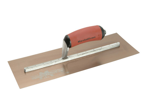 Marshalltown MPB145GSD Gold Stainless Steel Pre-Worn Plasterers Trowel DuraSoft 14in x 5in from Toolden.