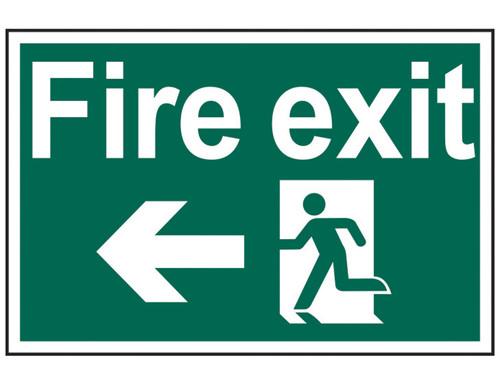 Scan Fire Exit Running Man Arrow Left - PVC 300 x 200mm