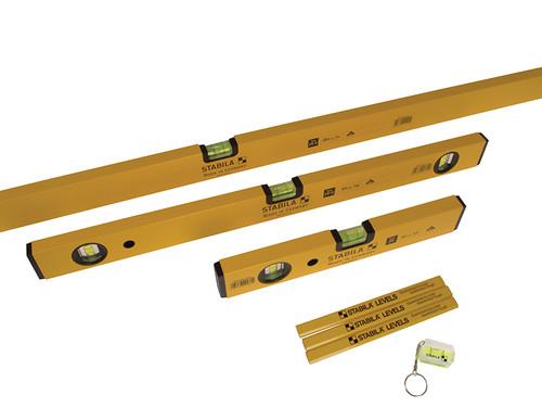 Stabila 70-2 Double Plumb Spirit Level Pack 30cm 60cm & 180cm