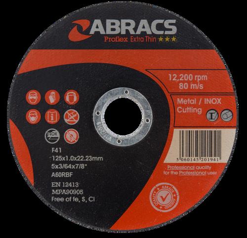 Abracs Proflex Extra Thin Cutting Discs 125mm x 1.0mm x 22mm