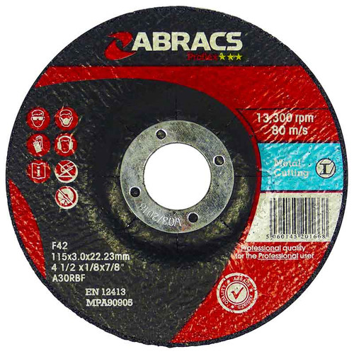 Abracs Proflex Metal Cutting Discs 115mm X 3mm X 22mm (10 Pack)