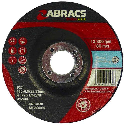 Abracs Proflex Depressed Centre Metal Grinding Discs 115mm X 6mm X 22mm (25 Pack)
