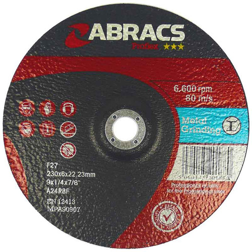 Abracs Proflex Depressed Centre Metal Grinding Disc 230mm X 6mm X 22mm