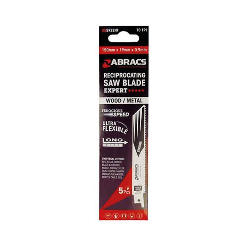 Abracs Recip Blade 225x19x0.9mm Wood/Metal - 5 Pack