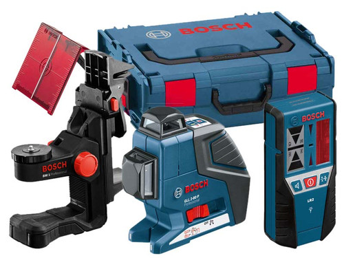 Bosch GLL280PBMCCLR 20m Laser + Wall Mount Ceiling Clamp & Receiver from Toolden