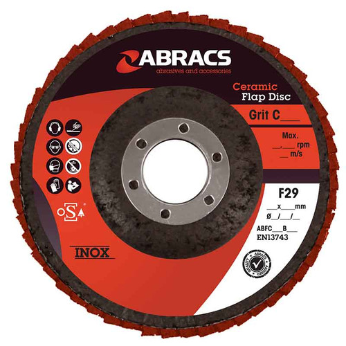 Abracs Ceramic Flap Disc 115mm x 22mm x 80G