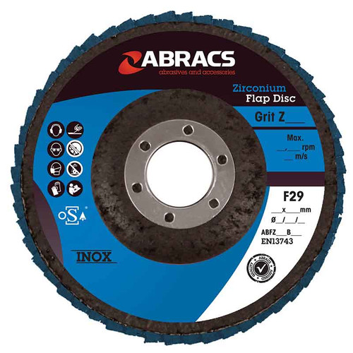 Abracs Zirconium Flap Disc 115mm x 22mm x 120G - Pack of 5