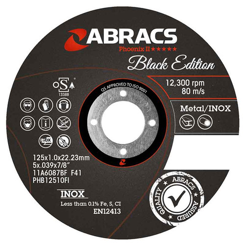 Abracs Black Edition Extra Thin Cutting Disc 125mm x 1.0mm x 22mm