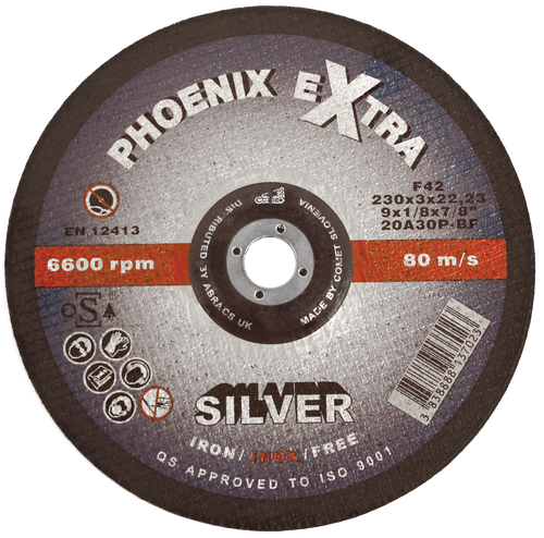 Abracs Phoenix Silver Cutting Disc 100mm x 3mm x 16mm