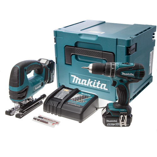 Makita DLX2024MJ 18V Drill and Jigsaw Twin Pack with 2x 4.0Ah Batteries