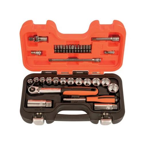 Bahco SL34 3/8 inch Drive Socket & Mech Set of 34 Metric (BAHSL34)