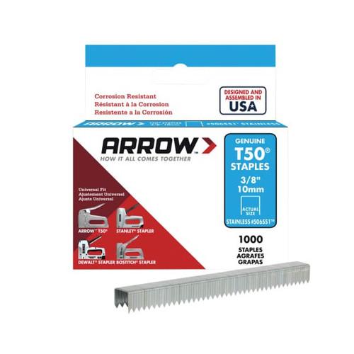Arrow ARRT5038SS T50 Staples Stainless Steel 506SS 10mm 3/8in - Box 1000