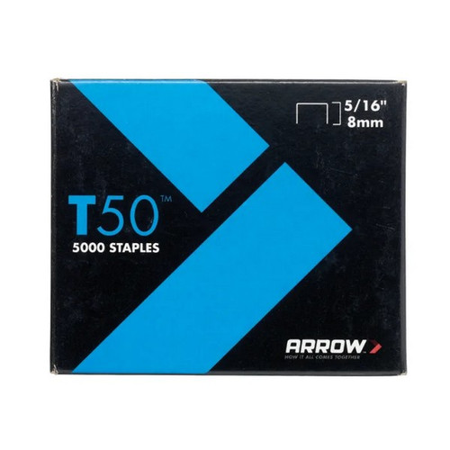 Arrow ARRT50516 T50 Staples 8mm 5/16in Pack 5000 - 4 x 1250