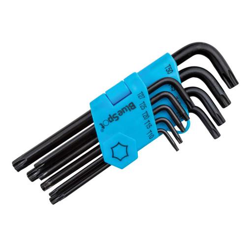 BlueSpot Tools B/S15305 Long Arm Ball End TORX Key Set of 9 (TX10-TX50)    Toolden