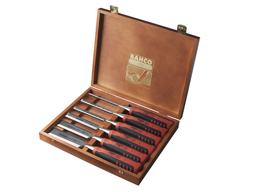 Bahco BAH424PS6 424P-S6 Bevel Edge Chisel Set of 6 in Wooden Box | Toolden