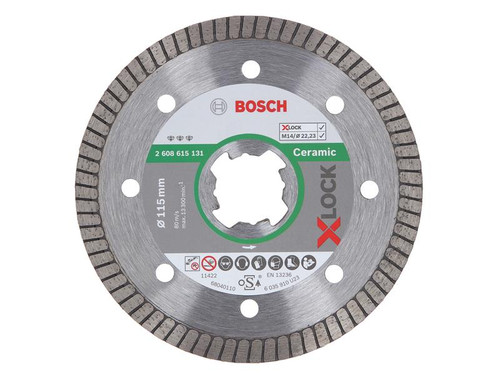 Bosch BSH615131 X-LOCK Best for Ceramic Extraclean Turbo Diamond Disc 115 x 1.4 x 22.23mm | Toolden
