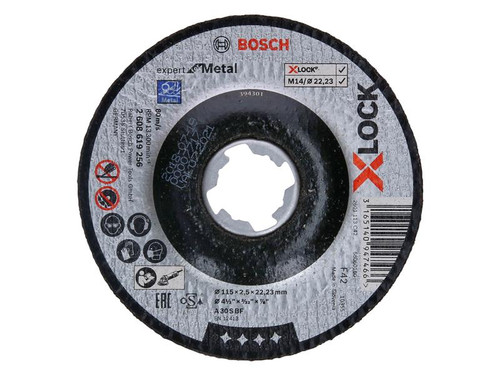 Bosch BSH619256 X-LOCK Expert for Metal Depressed Centre Cutting Disc 115 x 2.5 x 22.23mm | Toolden