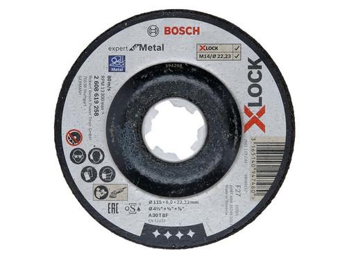 Bosch BSH619258 X-LOCK Expert for Metal Depressed Centre Grinding Disc 115 x 6 x 22.23mm | Toolden