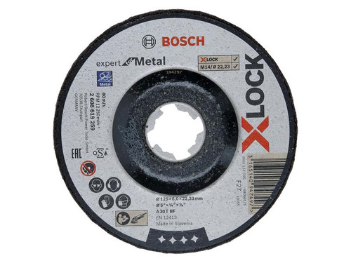 Bosch BSH619259 X-LOCK Expert for Metal Depressed Centre Grinding Disc 125 x 6 x 22.23mm | Toolden