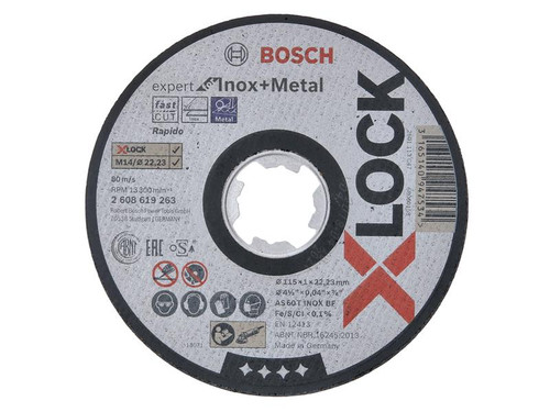 Bosch BSH619263 X-LOCK Expert for Inox Cutting Disc 115 x 1 x 22.23mm | Toolden