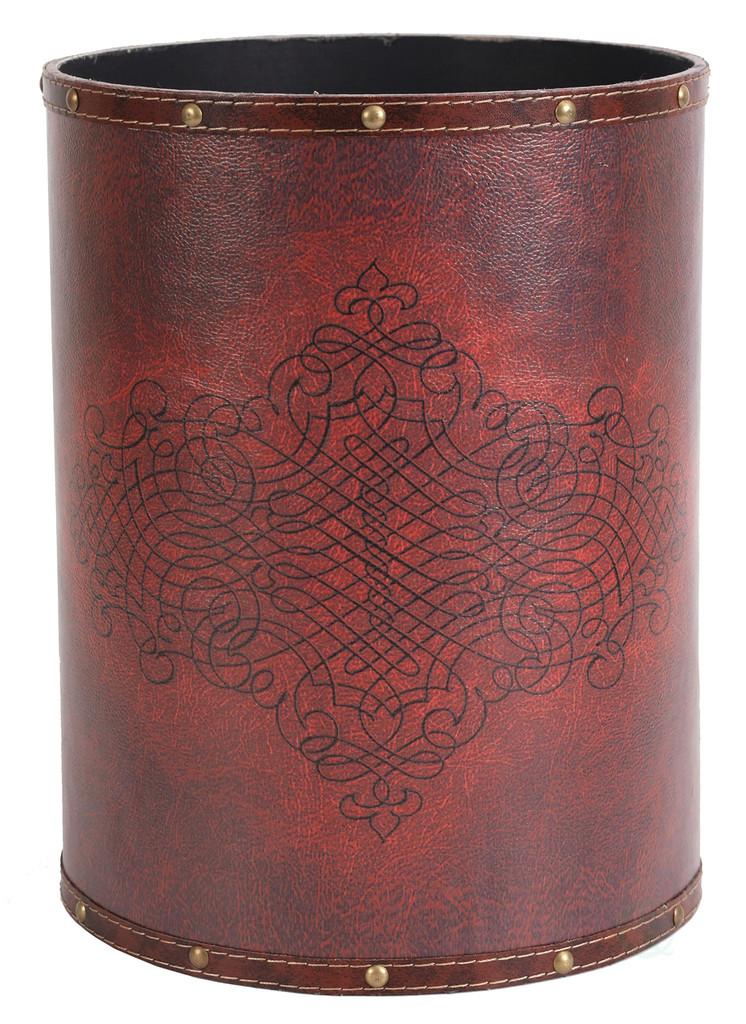 Vintiquewise Faux Leather Antique Design Waste Bin