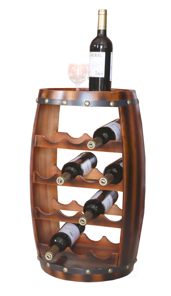 Wooden Barrel Shaped 14 Bottle Wine Rack