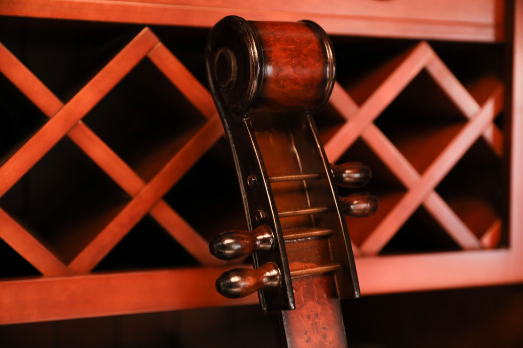 Wooden Violin Shaped Wine Rack-10 Bottle Decorative Wine Holder