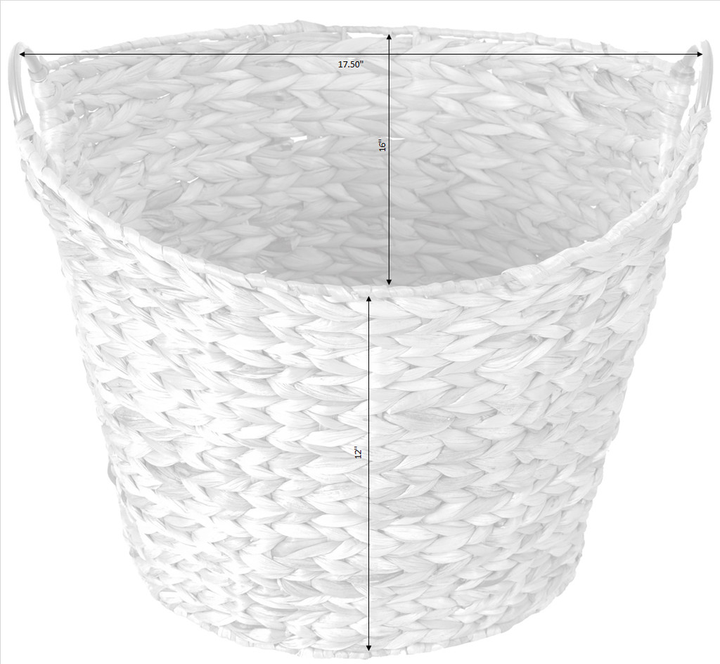 Large Round Water Hyacinth Wicker Laundry Basket