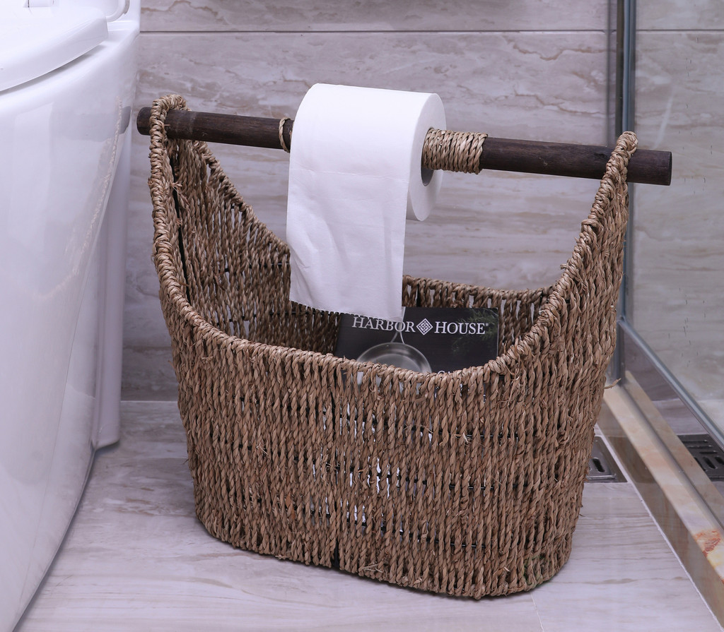 Free Standing Magazine and Toilet Paper Holder Basket with Wooden Rod