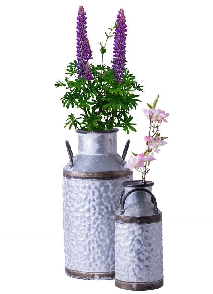 Rustic Farmhouse Style Galvanized Metal Milk Can Decoration Planter and Vase