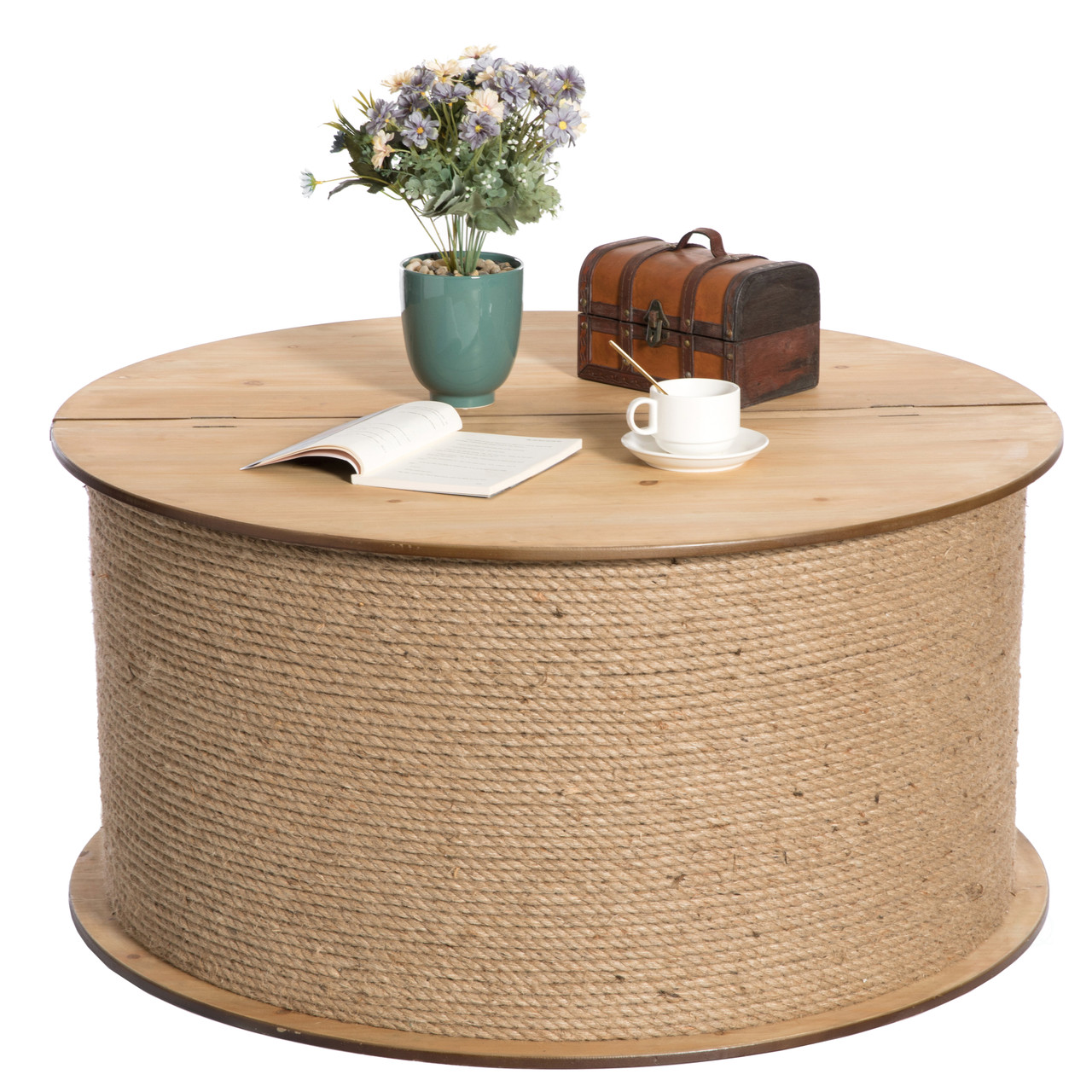 Decorative Round Spool Shaped Wooden Coffee Table With Rope Lift Top Storage Vintiquewise