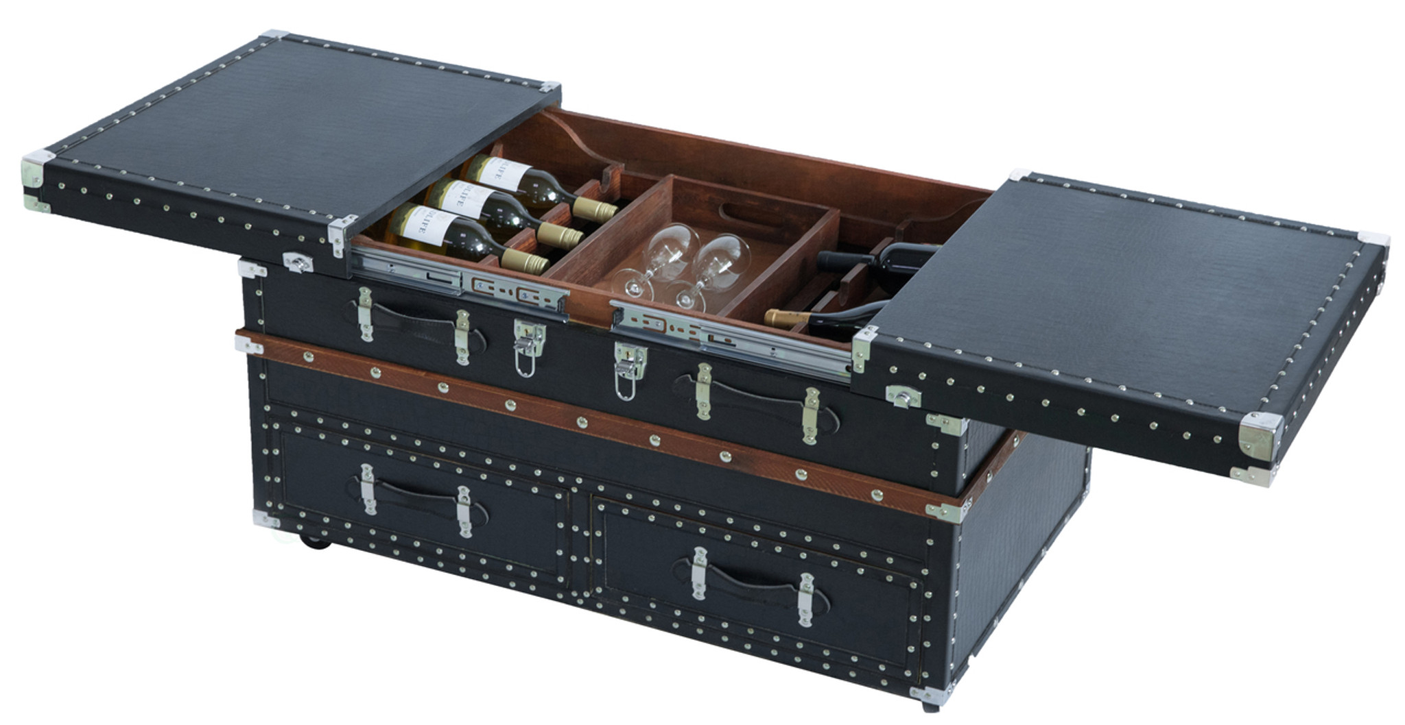 Coffee Table With Sliding Top Storage.Black Crocodile Leather Coffee End Table And Wine Bar Trunk With Sliding Top And Drawers