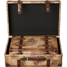 Old World Map Leather Vintage Style Suitcase with Straps-Set of 2