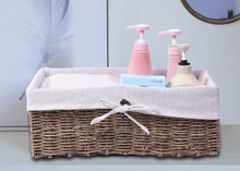 Large Seagrass Shelf Storage Basket with White Lining