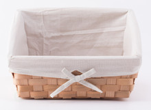 Wooden Angled Display Basket with Fabric Liner for Storage and Display