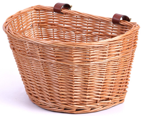 Wicker Front Bike Basket with Faux Leather Straps